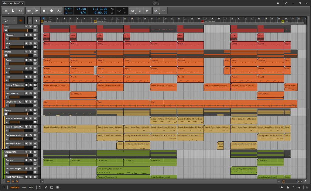 Screenshot of my DAW showing some of the parts for the track.