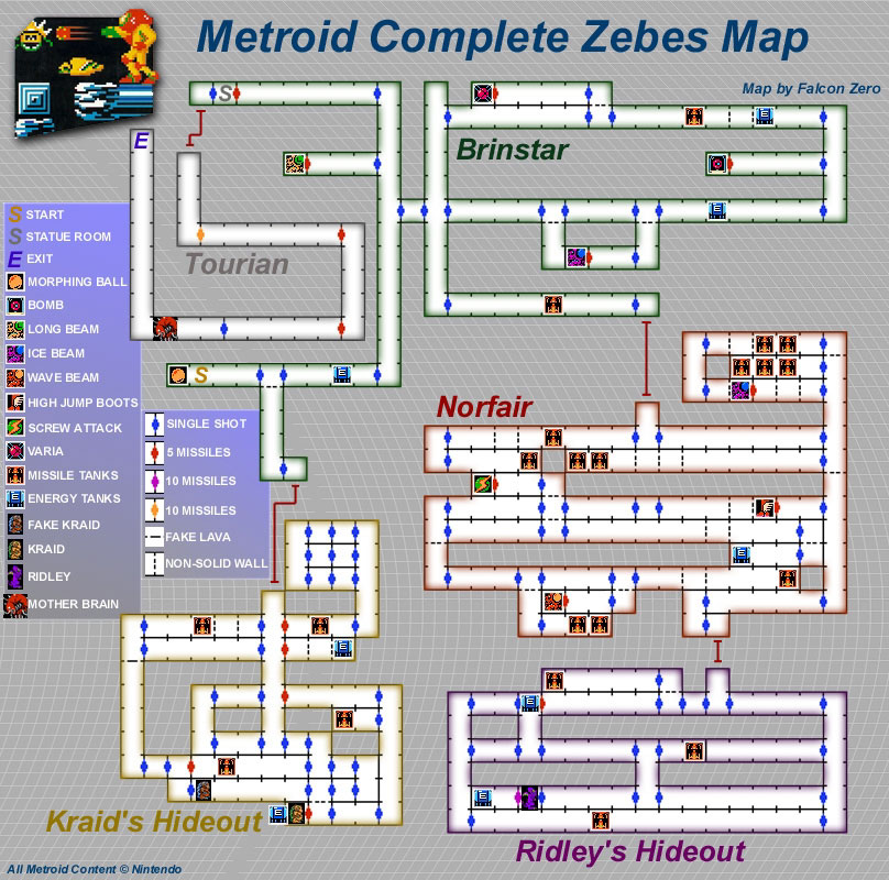Nes Metroid Map Metroid 1 | Metroid Maps | jansenprice.com Nes Metroid Map